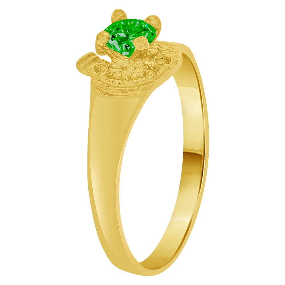 Lucky Horse Shoe Mini Size Child Ring Adult Pinky Ring Created CZ Crystal Green 14k Yellow Gold