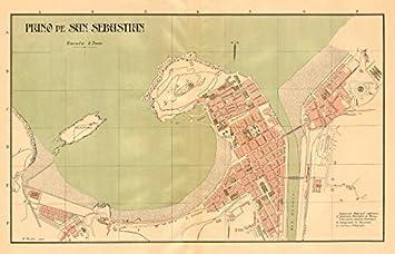 San Sebastian DONOSTIA Plano Antiguo cuidad Antique Town Plan. Martin - c1911 - Mapa Antiguo Vintage - Mapas Impresos de España: Amazon.es: Hogar