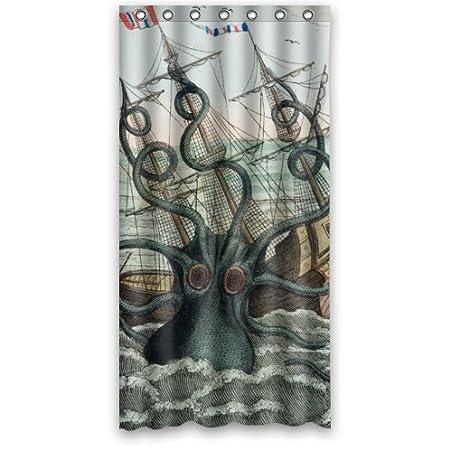 Cool Kraken Octopus PatternDeep Sea Monster Art Bathroom Decor 100 Polyester Shower Curtain