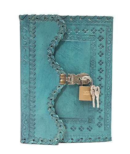 Leather Diary Journal Notepad Writing Book with Lock & Key Handmade Papers Designed for Home & Office (Light Blue) by pranjals house