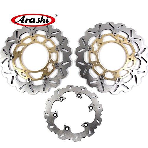 (Arashi Front Rear Brake Disc Rotors for SUZUKI Hayabusa GSXR 1300 2008-2017 Motorcycle Replacement Accessories GSX-R 1300 GSX1300R GSXR1300 B-KING 1300 Gold 2009 2010 2011 2012 2013 2014 2015 2016)