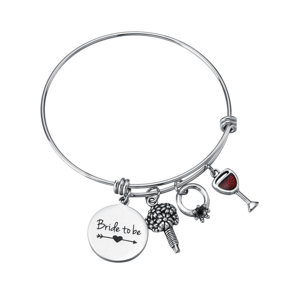 Miss Pink Bride to Be Gifts Bachelorette Party Bridal Shower Bangle Wedding Charm Bracelet Engagement Jewelry for Woman