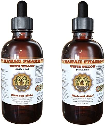 White Willow Liquid Extract, Organic White Willow Salix Alba Dried Bark Tincture 2×2 oz