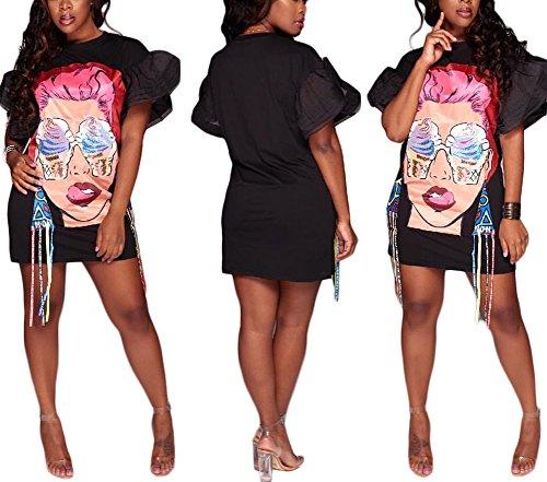 ENWEI Women's Casual Short Puff Sleeve Mini Dress Digital Pattern Print Loose Tunic T-Shirt Blouse Black - Digital Pattern
