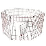 ALEKO SDK-36P Heavy Duty Pet Playpen Dog Kennel Pen Exercise Cage Fence 8 Panel 36 x 24 Inches Pink