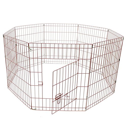 ALEKO SDK-36P Heavy Duty Pet Playpen Dog Kennel Pen Exercise Cage Fence 8 Panel 36 x 24 Inches Pink by ALEKO