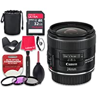 Canon EF 24mm f/2.8 IS USM Lens with 32GB Ultra Pro Speed Class 10 SDHC Memory Card + 3pc Filter Kit (UV-FLD-CPL) + Deluxe Sleeve + Celltime Microfiber Cleaning Cloth - International Version