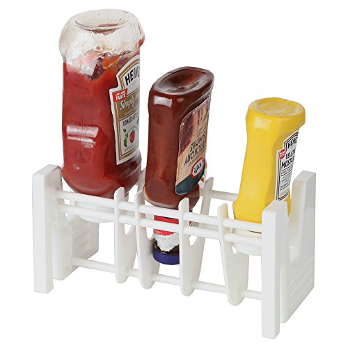 Home-X - Upside Down Condiment Bottle Holder Rack, The Perfect Kitchen Top Organizer that Prevents Waste and Uses Every Last Drop of Your Favorite Condiments