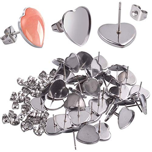 (Earring Cabochon Settings, 40 Pieces Cabochon Stud Earrings Blank Heart Shape Earring Bezel Tray with 40 Pieces Butterfly Earring Safety Backs for Jewelry Making)