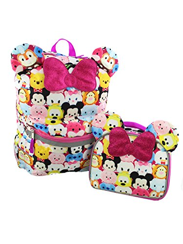 Disney Tsum Tsum Girls Backpack and Lunch Box School Set (One Size, Pink/Multi)