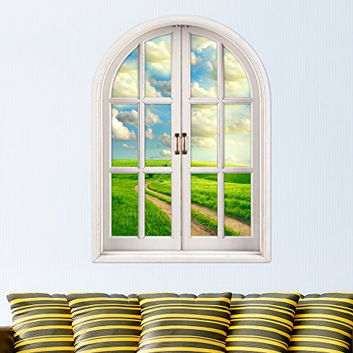 [Blue Sky 3D Artificial Window View PAG Wall Decals Greenfield Room Stickers Home Wall Decor Gift] (Diy Tree Frog Costume)