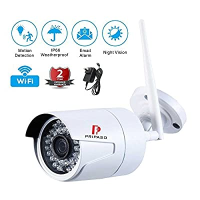 Pripaso Wireless WIFI Security Camera, 720P HD Home Security Surveillance Camera with Motion Detection Alarm, Outdoor Bullet IP Camera by Pripaso