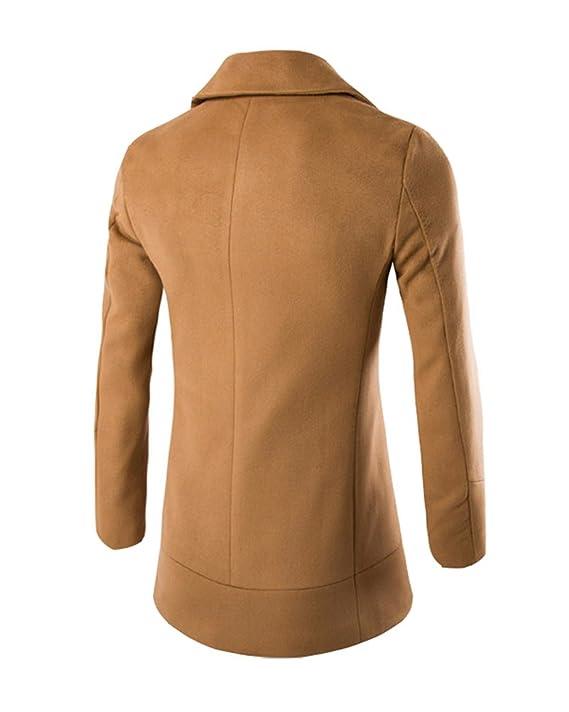 Cappotto da Uomo Doppiopetto Casual Trench Lungo Giacca Solido Coat Autunno  Cammello XL  Amazon.it  Abbigliamento 648848b69a8f