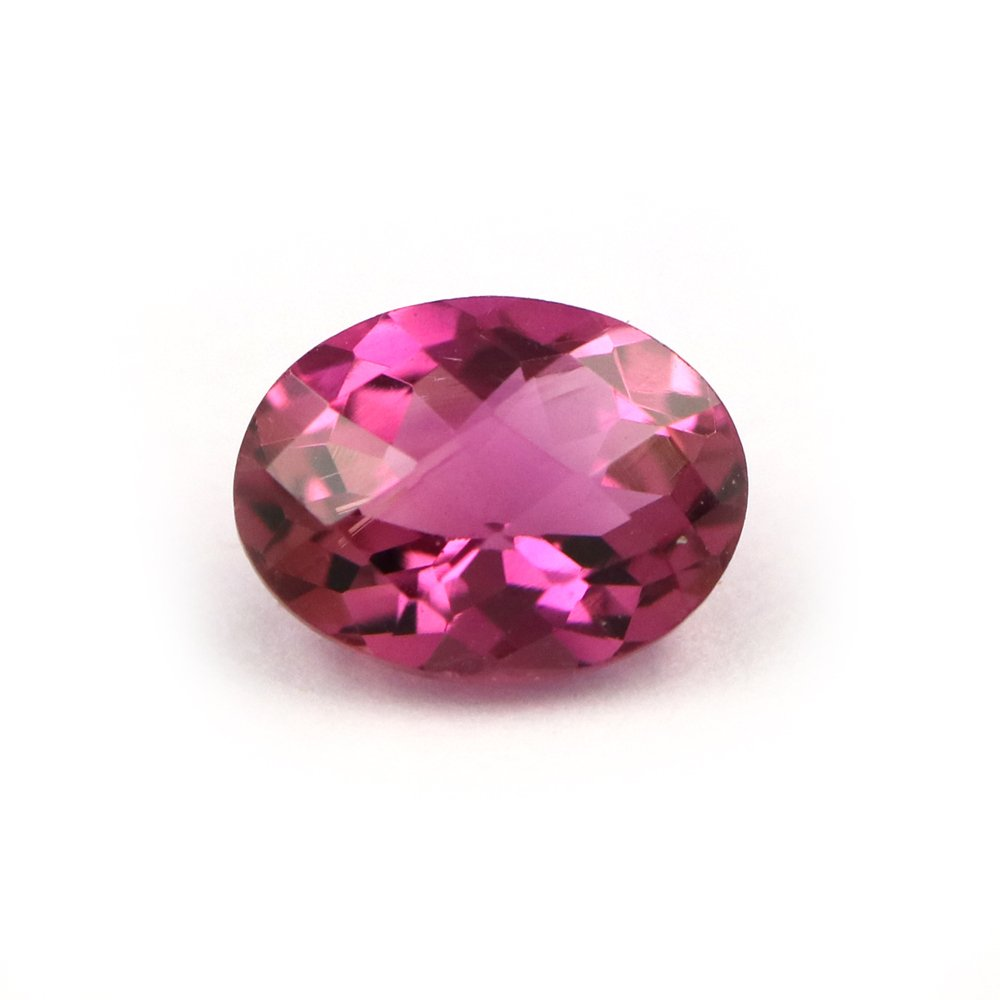 Natural Rubelite Tourmaline Checker Cut Oval 1.23 Carats TCW Fine Lustre Gems Brazil By DVG