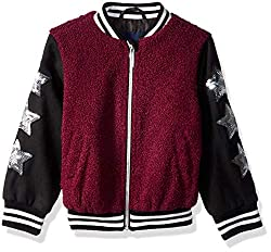 Wool and Sherpa Jacket with Star Sequins