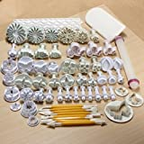 (68pcs) Spring Fondant Cake Biscuit Sugarcraft Plunger Cutter Craft Mold Tool for Cupcake Decorating (Heart, Veined Butterfly, Star, Daisy, Veined Rose Leaf ,Carnation, Blossom, Flower, Sunflower)