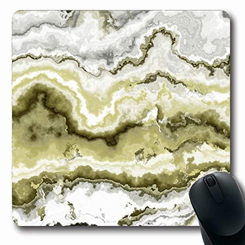 Ahawoso Mousepads Batu Green Agate Gem Stone Pattern African Jewel Nature Yellow Aluminosilicate Botswana Brazilian Oblong Shape 7.9 x 9.5 Inches Non-Slip Gaming Mouse Pad Rubber Oblong Mat