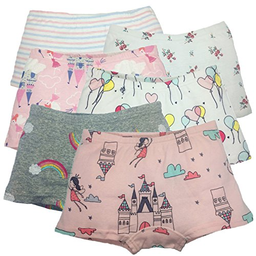 Price comparison product image Cczmfeas Girls Boyshort Hipster Panties Cotton Kids Underwear Set (C-6 Pack, 4-5 Years)