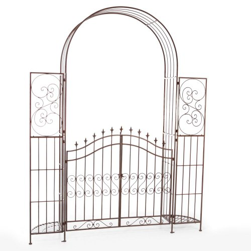 Belham Living Belham Living Gated Hodgson Garden Metal Arbor with Planter Stands, Iron - Arbor With Gate
