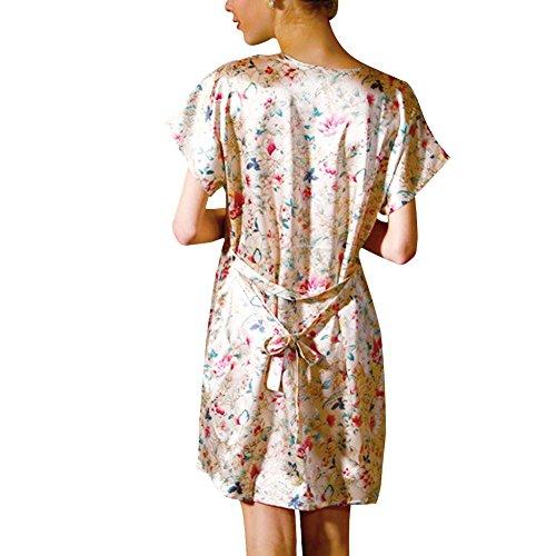Jiajia mujeres suave satén flores camisón pijamas pijama dormir vestido