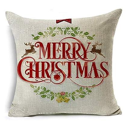 Amazon.com: TreeMart Cute Deer Letter Cushion Cover Merry ...