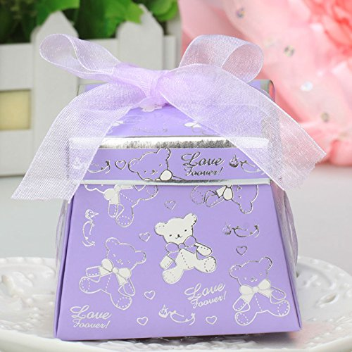 Moleya 50pcs DIY Party Favor Paper Candy Boxes Teddy Bear Pattern with Ribbon for Birthday Party Decoration, Baby (Tiffany Style Teddy Bear)