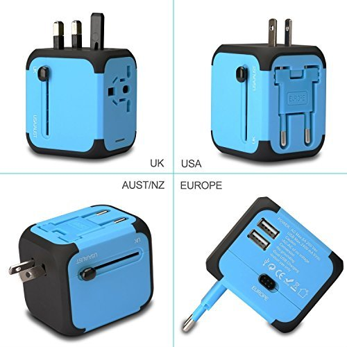 Price comparison product image Universal Travel Adapter International Power Adapter with 2.4A Dual USB Ports Worldwide AC Wall Outlet for Europe, UK, AU, Asia & USBlue