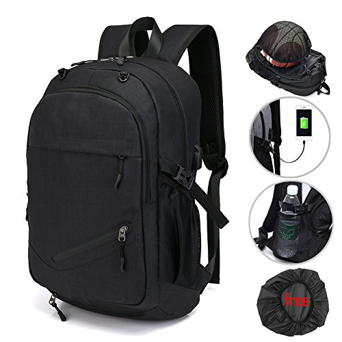 Laptop Bags, Backpack with Basketball Nets Mesh Sports Business Backpacks,Casual Travel Daypack Computer Shoulder Bag with USB Charging Port,Rain proof cover Fits UNDER 15 inch ()