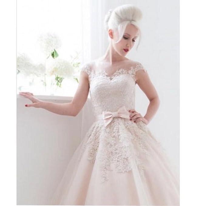 Chady O Neck Sheer Lace Wedding Dresses 2017 Short Cap Sleeves