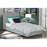 DHP Alexander Upholstered Platform Bed with Wooden Slats Support, Light Grey Linen - Twin Size