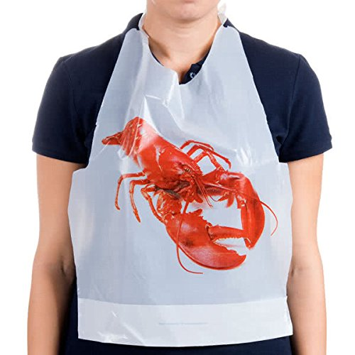 Disposable Adult Lobster Bibs, 25 pcs - For Seafood Feast & Adult Party Supplies - Protect Clothes From Spills]()