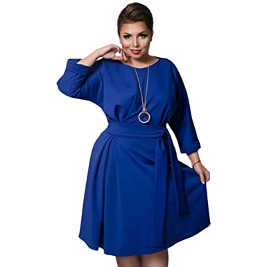 LINNUO Womens Party Plus Size Dress with Belt Pleated Cocktail Swing Skater Casual Prom Dresses (