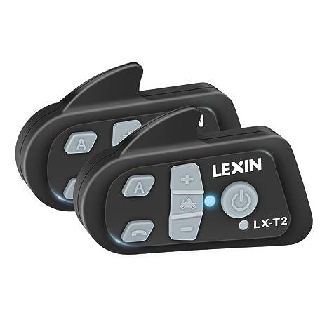 LX-T2 - 2×Auriculares Intercomunicador Bluetooth para casco de motocicleta Moto Intercom Headset