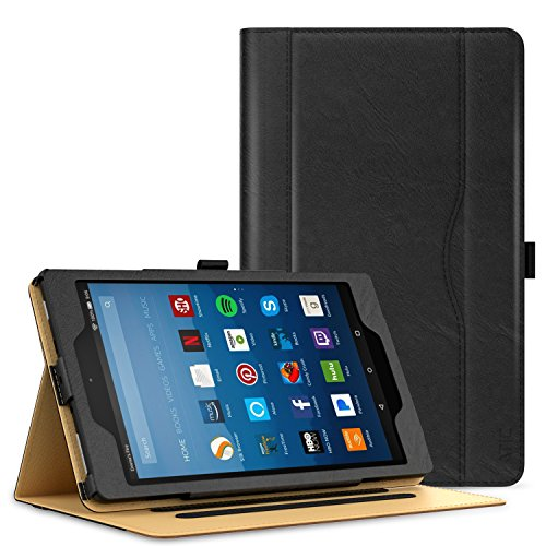 ATiC Case for All-New Amazon Fire HD 8 Tablet (7th Generation, 2017 Release Only)-Slim Folding Stand Folio Cover for Fire HD 8 with Card Slot, Multiple Viewing Angle, BLACK (with Auto Wake/Sleep)