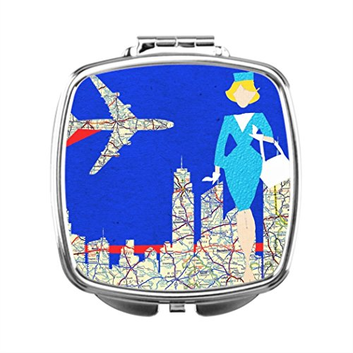 Custom Compact Mirrors (Makeup Vanity With Mirror Retro Flight Attendant Custom Compact)