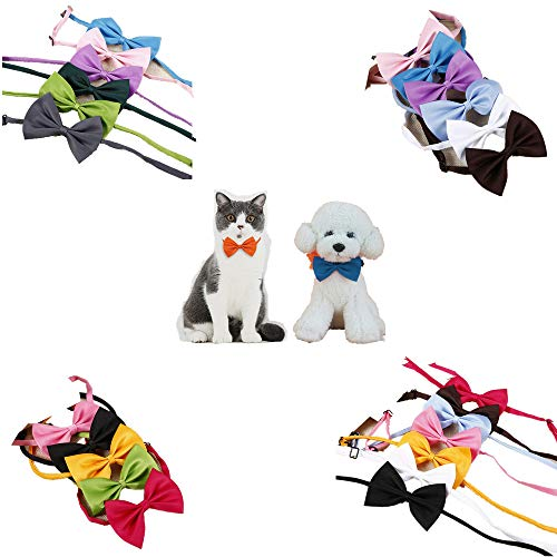 - Muhan 50PCS Mix Colors Adjustable Pet Bow Neckties Dog Tie Bowknot for Party Soft Collar Grooming