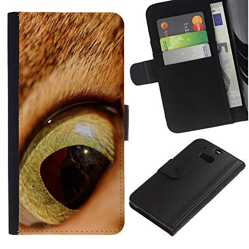 EuroCase - HTC One M8 - cat orange ginger eye shorthair pupil - Cuero PU Delgado caso cubierta Shell Armor Funda Case Cover