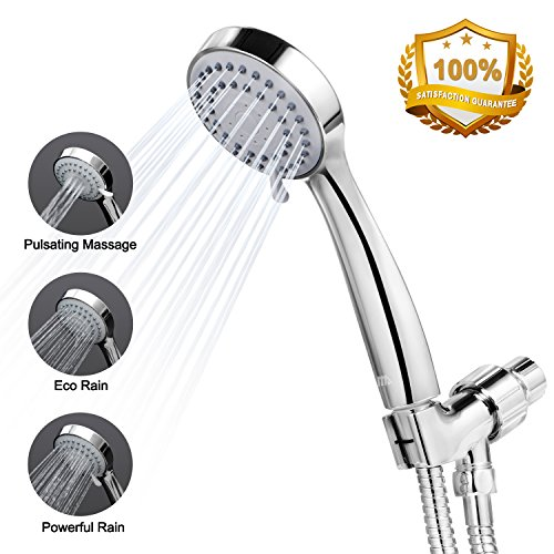 Benewell Handheld High Pressure Shower Head with Hose, Bracket and Teflon Tape – Easy Installation Rainfall Hand Held Showerhead & Adjustable Mount, Best for Massage,Spa