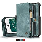 Iphone 7 Plus Leather Wallet Magnetic Phone Case Detachable Protective Case with Card Holder Folio Flip Cover, Blue