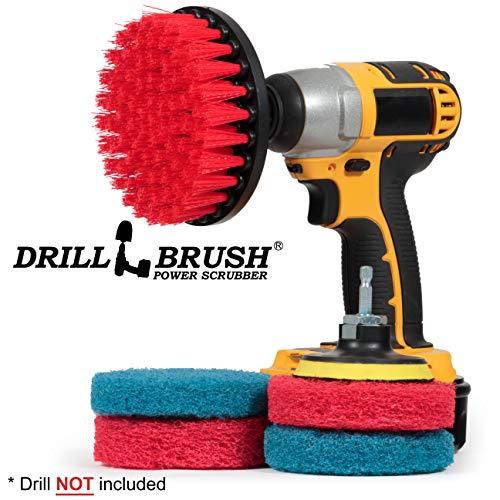 Drill Brush - Cleaning Supplies - Indoor - Bathroom Accessories - Tile - Grout Cleaner - Shower Cleaner - Bathtub - Bath Mat - Scrub Brush - Porcelain - Outdoor - Garden - Patio - Deck Brush - Granite (Furniture Garden Tiled)