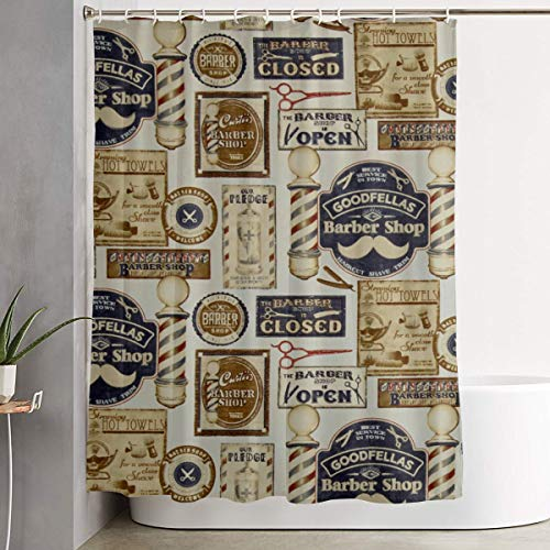 Barber Shop Shave And Haircut ParchmentMulti Themed Decor Decoration Ornament For Bathroom Shower Curtain Indoor House Restroom Farmhouse Shower Room Home Party Print Accessories Pattern Set (Shop Shower Curtain)