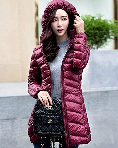 Mujer Plumas De Para Con Largas Vino Abrigo Capucha Chaqueta Rojo Zhuikun Invierno Parka tIqvS