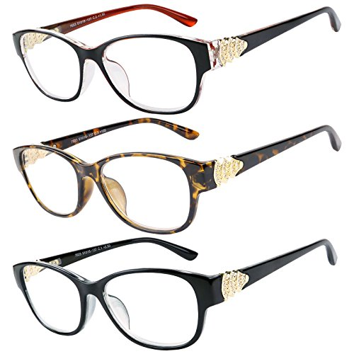 Reading Glasses 3 Pack Great Value Quality Readers Fashion Crystal design reading glasses Women +1.25 ()