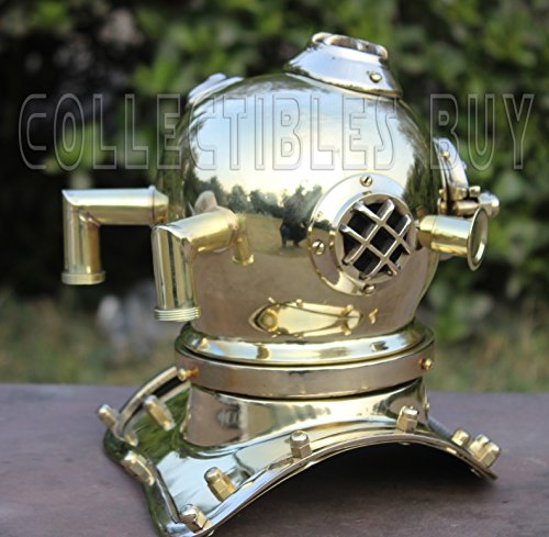 Divers Helmet (Scuba Diving Divers Helmet in Nickel Finish - Fully Handmade by Indian Artisan, Vintage Look Authentic Replica, Brass Collector)