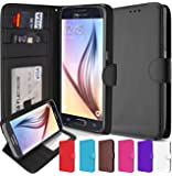 Galaxy S6 Case, CellEver Premium PU Leather Wallet [Flip Folio Cover] with Foldable Kickstand, Pockets for ID, Credit Cards & Cash for Samsung Galaxy S6 - Black
