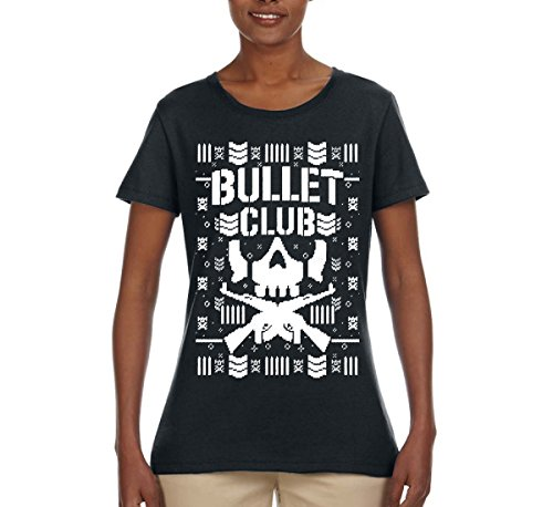 Wild Bobby Bullet Club | Wrestling Bone Soldier | Womens Ugly Christmas Tee Graphic T-Shirt, Black, 2XL by Wild Bobby