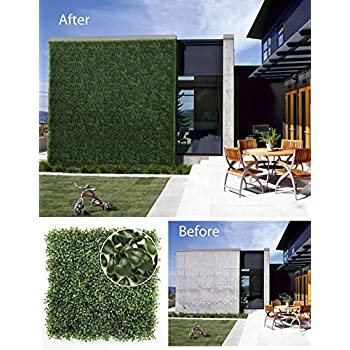 Image of Home and Kitchen ULAND Artificial Hedges Panels, Boxwood Greenery, Privacy Fence Screen, Weddings or Parties Background Walls, Pubs Restaurants Green Plants Wall,Garden Outdoor Decor 20' x 20',12Pcs