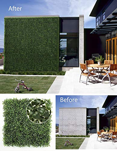 "ULAND Artificial Hedges Panels, Boxwood Greenery, Privacy Fence Screen, Weddings or Parties Background Walls, Pubs Restaurants Green Plants Wall,Garden Outdoor Decor 20"" x 20"",12Pcs"