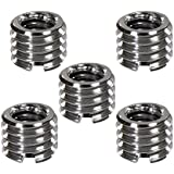 "Foto&Tech 5 Pieces Metal 1/4"" to 3/8"" Convert Screw Adapter for Tripod Monopod Ballhead DSLR SLR"