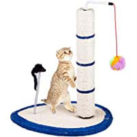 Gluckluz Cat Scratching Post Scratch Tree Scratcher with Toy for Large Small Cats Kittens with Toy Sisal Furniture…